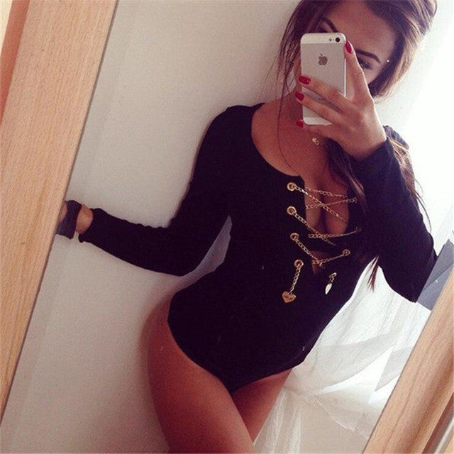 Casual Slim New Body Shirt Blouse Women Fashion Bodycon Bandage V-Neck Long Sleeve Red White Black Lace Up Bodysuit Sexy Blouses - Jessikas Tops