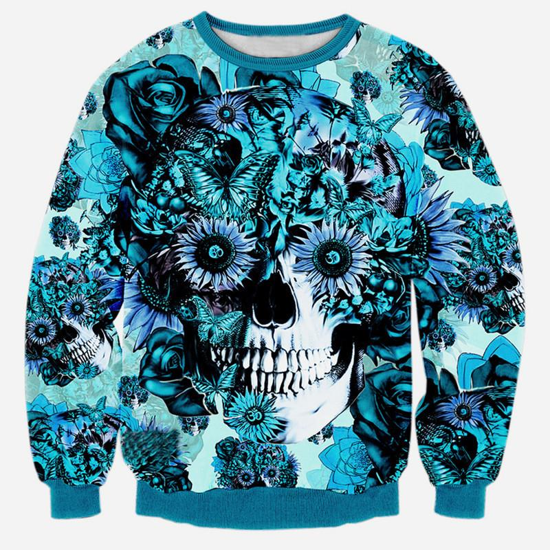 Alisister new fashion men/women's 3d sweatshirt harajuku print blue