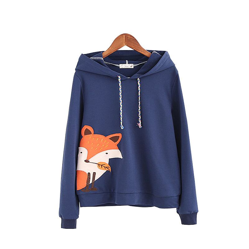 2017 Navy blue&White Fox Cartoon Women Pullover Cotton Mori girls