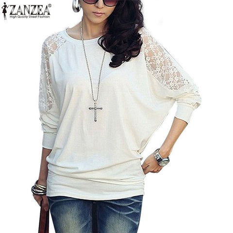 ZANZEA Blusas 2017 Spring Ladies Elegant Lace Blouse Women O neck Batwing Long Sleeve Shirt Sexy Casual Loose Tops Plus Size - Jessikas Tops