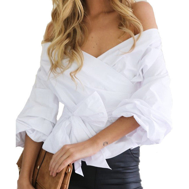 BONJEAN Elegant Bow Tie Off Shoulder Blouse Sexy V-Nevk Puff Sleeve portofino Shirts Womens Autumn White Blue Tops blusas mujer - Jessikas Tops