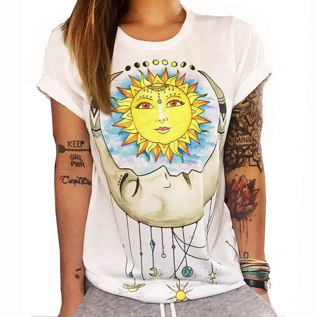 CWLSP 2017 Summer Colorful Printed T shirt Women Fashion Letter Short Sleeve O neck Chic Cotton T-shirts Female QL2115 - Jessikas Tops
