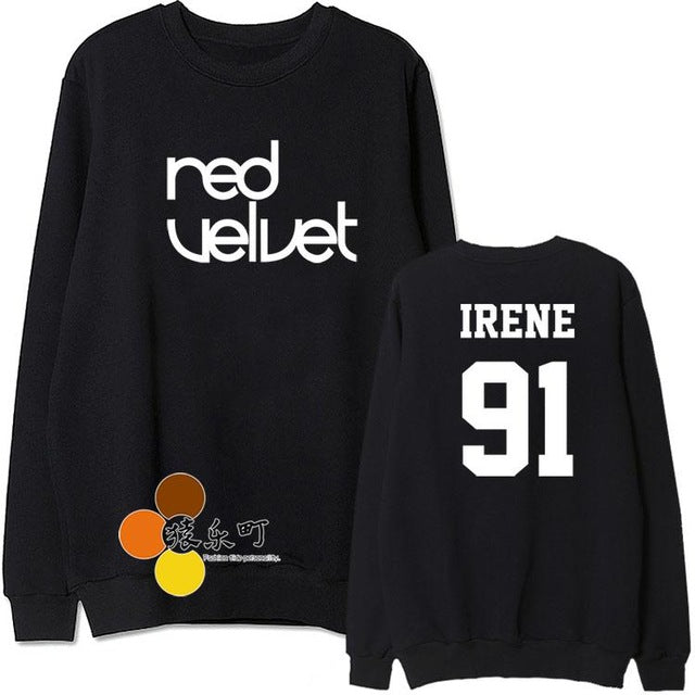 Black white red velvet the velvet member name printing thin sweatshirt