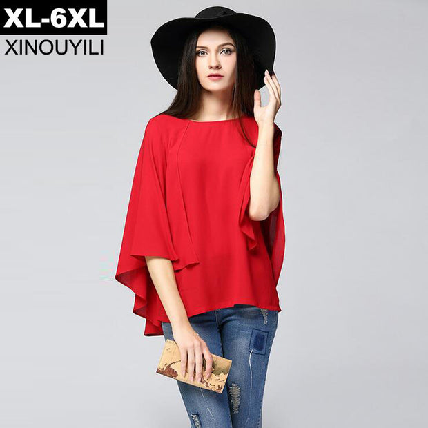 Red Navy Color Cloak Cape Chiffon Blouse 2017 Summer Large Size Batwing Sleeve Women's Shirts 6XL Plus Size Loose Women Blouses - Jessikas Tops