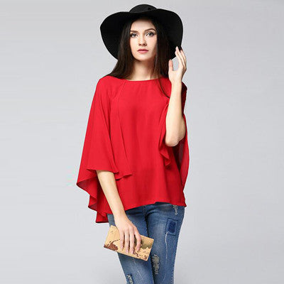 1798ee0c406 Red Navy Color Cloak Cape Chiffon Blouse 2017 Summer Large Size Batwing Sleeve  Women s Shirts 6XL