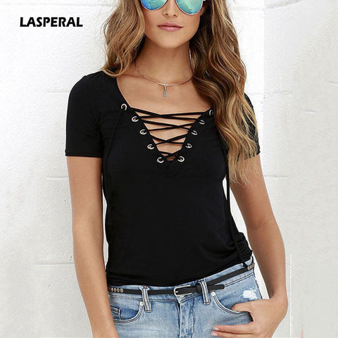 LASPERAL Summer Women T-shirts Short Sleeve Sexy Deep V Neck Bandage Shirt Women Lace Up Tops Tees T Shirt Plus Size Large 5XL