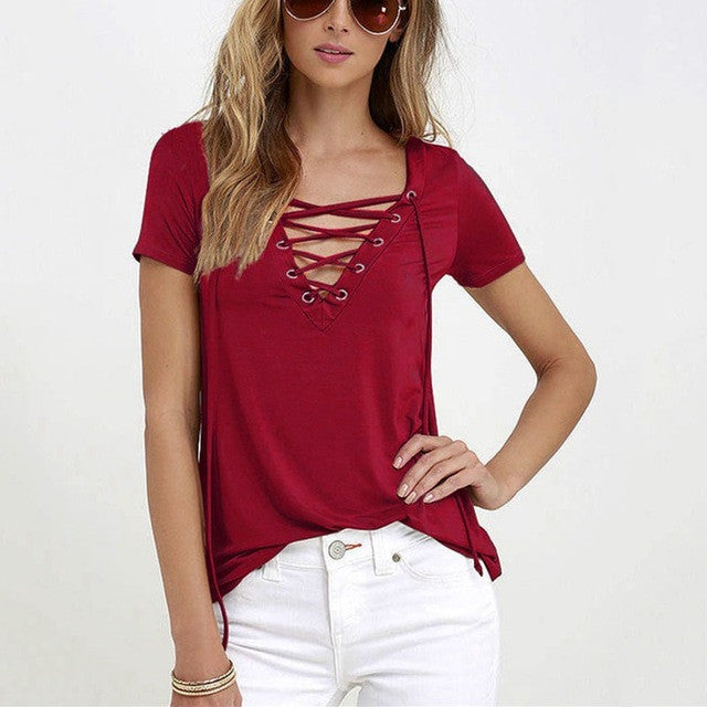 LASPERAL Summer Women T-shirts Short Sleeve Sexy Deep V Neck Bandage