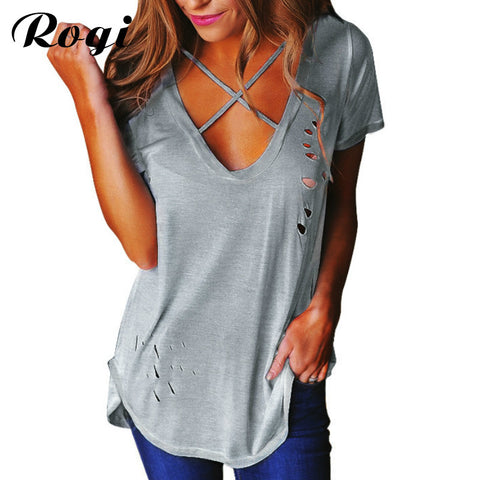 Rogi Sexy Holes Summer T-Shirt Women 2017 Front Cross V Neck Ripped T Shirts Bandage Loose Basic Tee Tops Camisetas Mujer Ropa