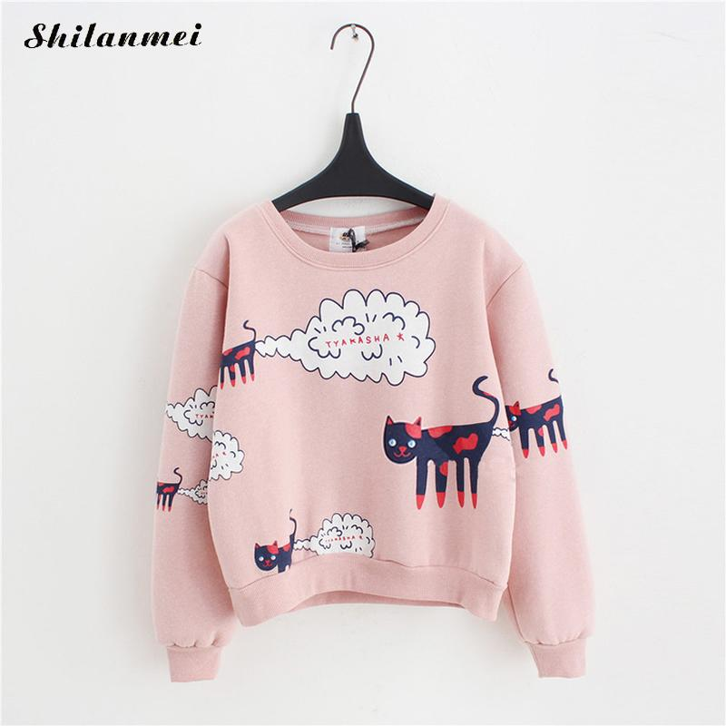 2017 Autumn Cartoon Anime Cat Women Hoodies Sweatshirt Kawaii Velvet
