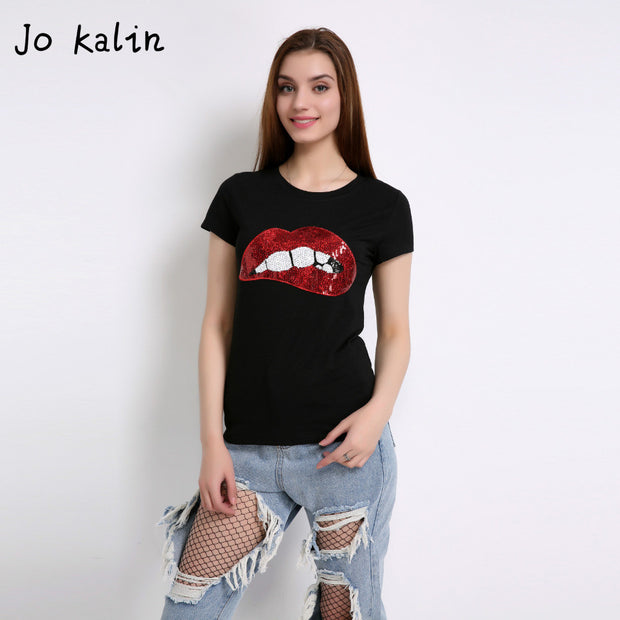 Hot Sale 2017 T-shirts for women summer short sleeve sequin red lips