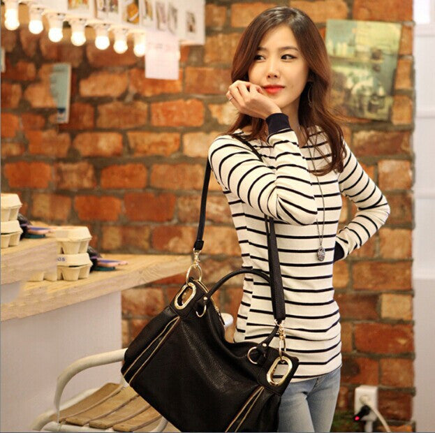 BOBOKATEER Long sleeve t shirt women tops tee shirt femme striped