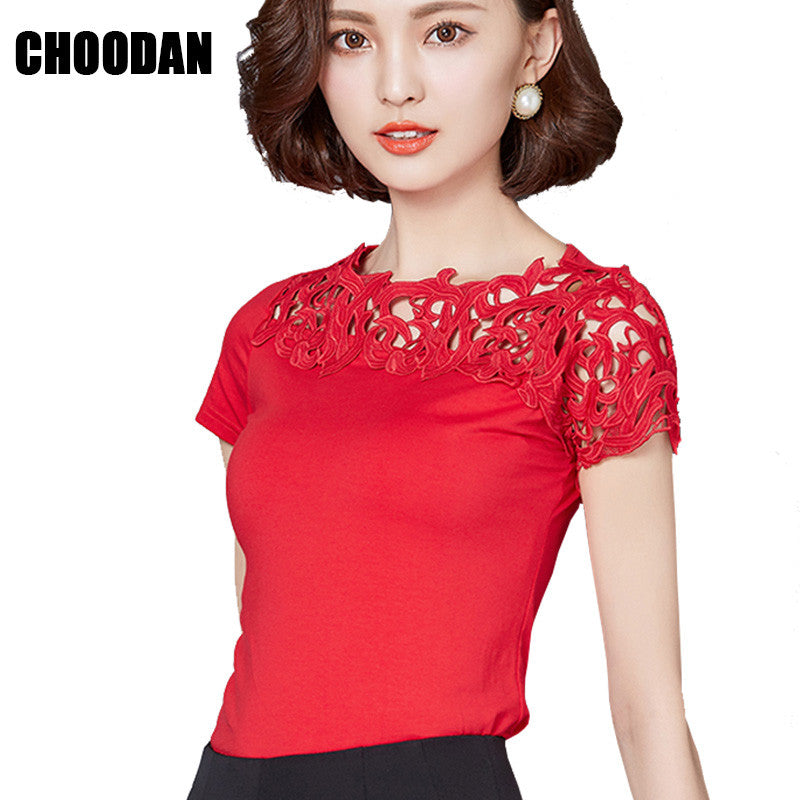 Blouse Shirt Women Cotton Lace Patchwork 2017 Fashion Summer Short