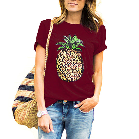 New Summer Women T Shirt Novelty Brief Pineapple Print Loose T-Shirts O-neck Fashion Casual Top Tees Women Loose Tshirts
