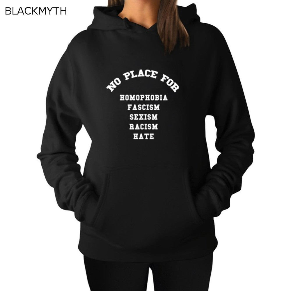 BLACKMYTH Women's Sweatshirts Pullovers Fashion Letters NO PLACE FOR