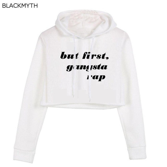 BLACKMYTH Women'S but first Long Sleeve Cotton Crop Hoodies Tops