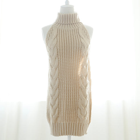 Hot Sale Virgin Killer Sweater Sexy Backless Sweater Turtleneck Sleeveless Vest Open Back Pullover Knitted Sweater Women Sweater