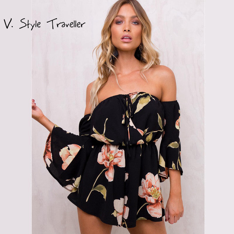 Casual off Shoulder Playsuit Sexy Bodysuit Women Shorts Boho Flower