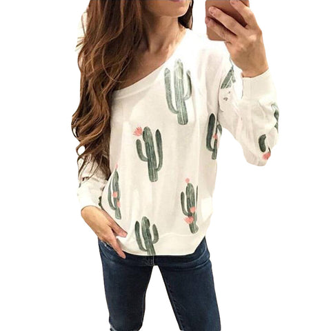 Cactus Printed White Hoodies Women Autumn Cute Graphic Crewneck Sweatshirts Long Sleeve Casual Tops Pullover