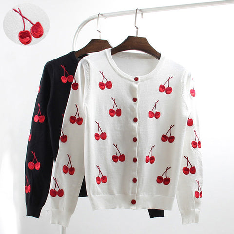 Cardigans Knitting Embroidery Thin Sweater 2017 New Spring Summer Autumn Loose Cherry Print Short O-Neck Sweater Coat YP0304