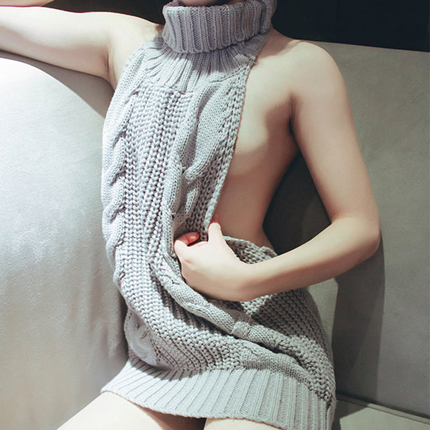 2017 Hot Japan Sexy Tie Open Backless Long Virgin Killer Sweater