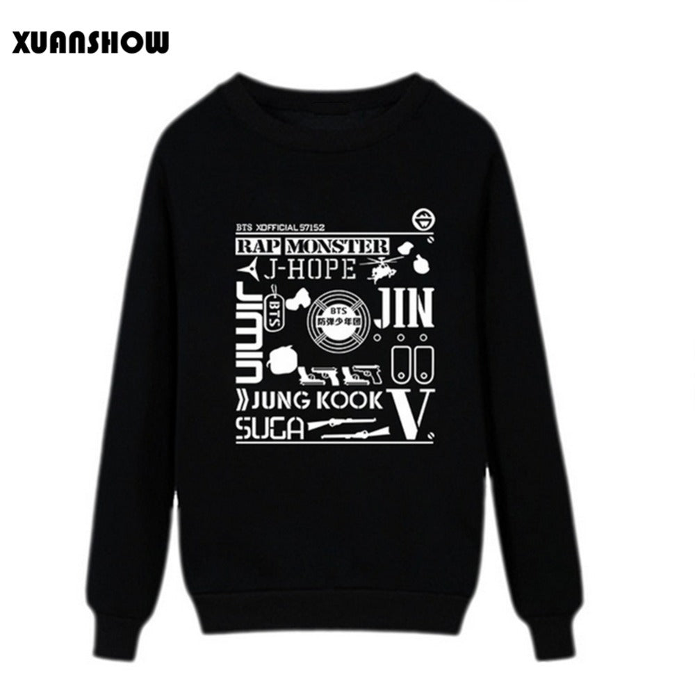 2017 New Women Sweatshirts Hip Hop Kpop Bangtan Boys Fans Clothing