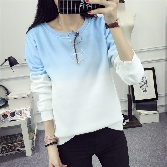 2017 Fall Winter Fashion Cool Gradient Hit Color Women Hoodies