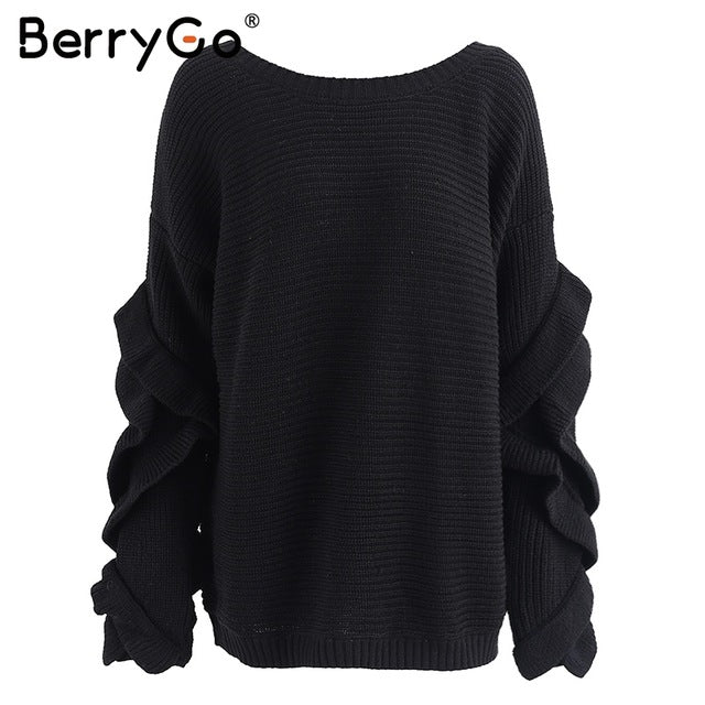 BerryGo Ruffles flare sleeve knitted pullover Sexy one shoulder