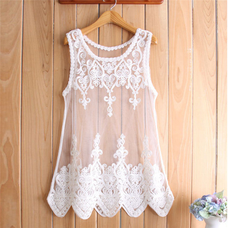 New Arrival Hot S-6XL Women Mesh Lace Blouses Shirts Embroidered