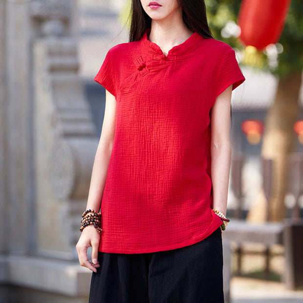 Chinese style Cotton Linen Women Blouse Shirt Summer Solid Casual