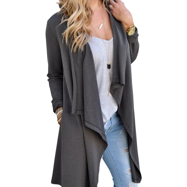 Women Cardigan Autumn Long Sleeve Irregular Long Female Grey Thin