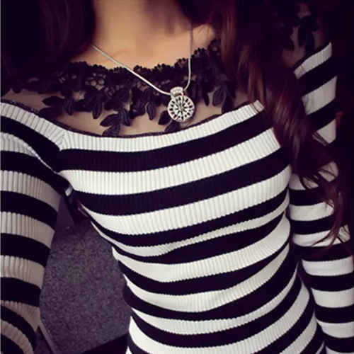Blusa black and white striped blouse shirts Knitted women tops fashion