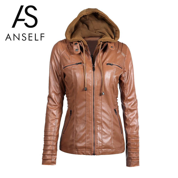 Anself Fashion Black Winter Pu Leather Jacket Women Long Sleeve Hooded