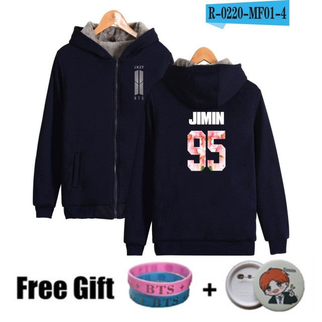 BTS Bangtan Boys Women Hoodies Sweatshirts With Zipper Black Long