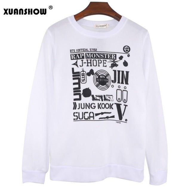 2017 Kpop Hoodies For Men Women Bangtan Boys Album Tops Fleece Long
