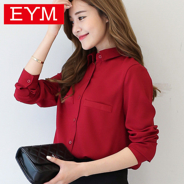 Brand Women Blouse 2017 New Casual Women's Long Sleeved Solid Shirt