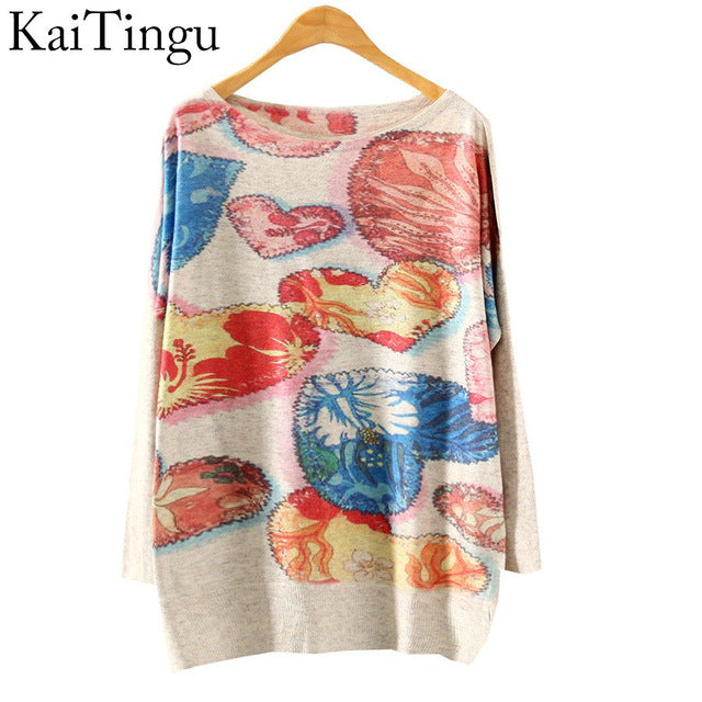 2017 New Autumn Winter Fashion Women Long Batwing Sleeve Knitted Print
