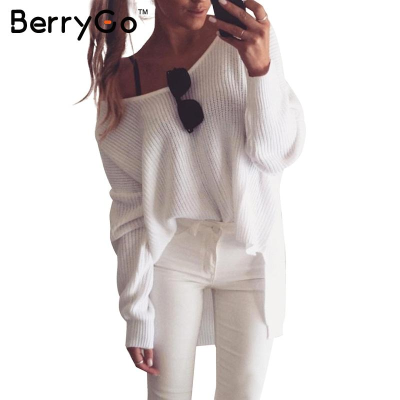 BerryGo Sexy off shoulder split knitted sweater Women brand black