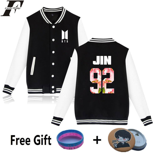 LUCKYFRIDAYF BTS Kpop Baseball Jacket Winter Hoodies Men Popular