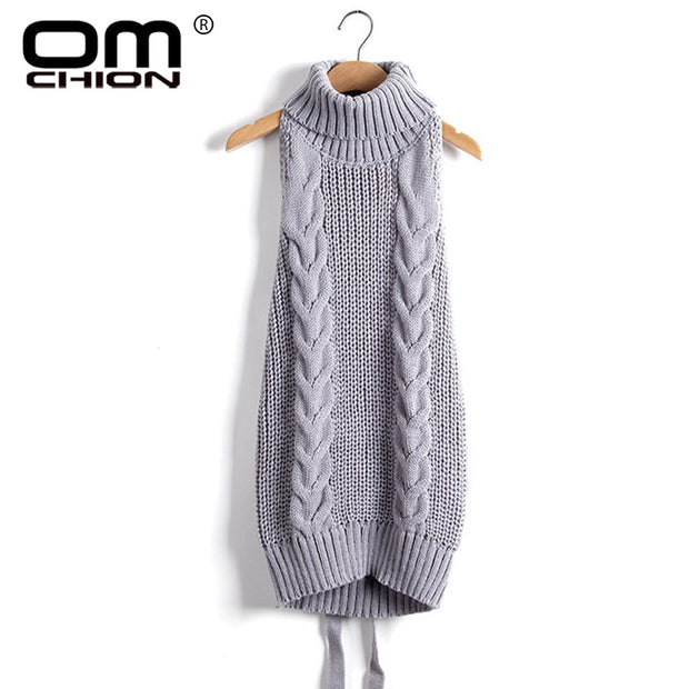 2017 Summer New Turtleneck Sleeveless Long Virgin Killer Sweater