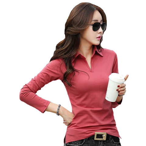 Spring Autumn Polo Shirt Women 2016 Long Sleeve Solid Slim Polos Mujer Shirts Tops Fashion Plus Size Polo Femme Candy Color A474 - Jessikas Tops