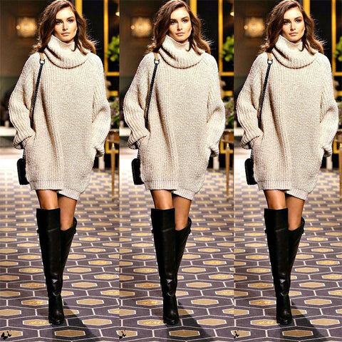 New Year Fashion Trendy Women Pullover Turtleneck Knitwear Knitted Long Sleeves Sweater Dress Autumn Fall Winter Outfit Outwear - Jessikas Tops