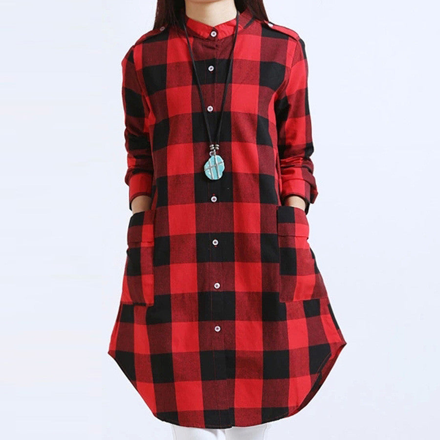 Women Tops Plus Size M~3XL Women Clothing Plaid Blouse Long Sleeve Women Blouses Cotton Linen Women Shirts Casual Vintage tops - Jessikas Tops
