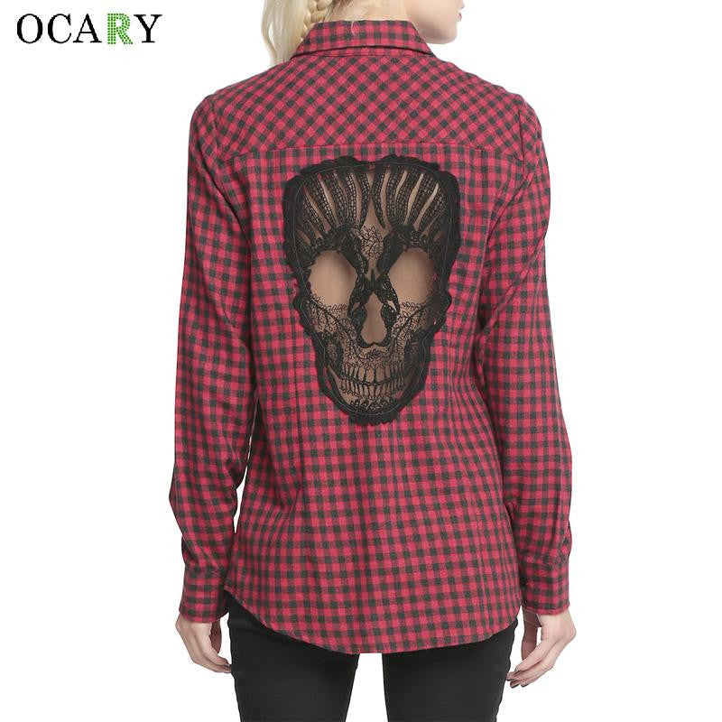 Skull Hollow Out Women Blouses Plaid Shirts Long Sleeve Blouse Spring Summer Blusas Mujer 2016 Haut Ete Plus Size XL Chemise Red - Jessikas Tops