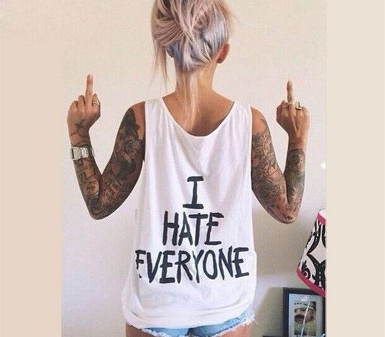 Harajuku Women T-Shirt I HATE EVERYONE TOPS Funny t shirt Women Sexy hip hop Streetwear tees Design Graphic Tee For Female - Jessikas Tops