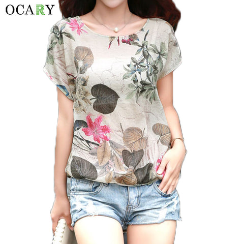 Elegant Floral Print Blouse Cotton Linen Women Shirts Summer Ladies Tops Casual Camisa Loose Chemise Femme Plus Size Blusa Mujer