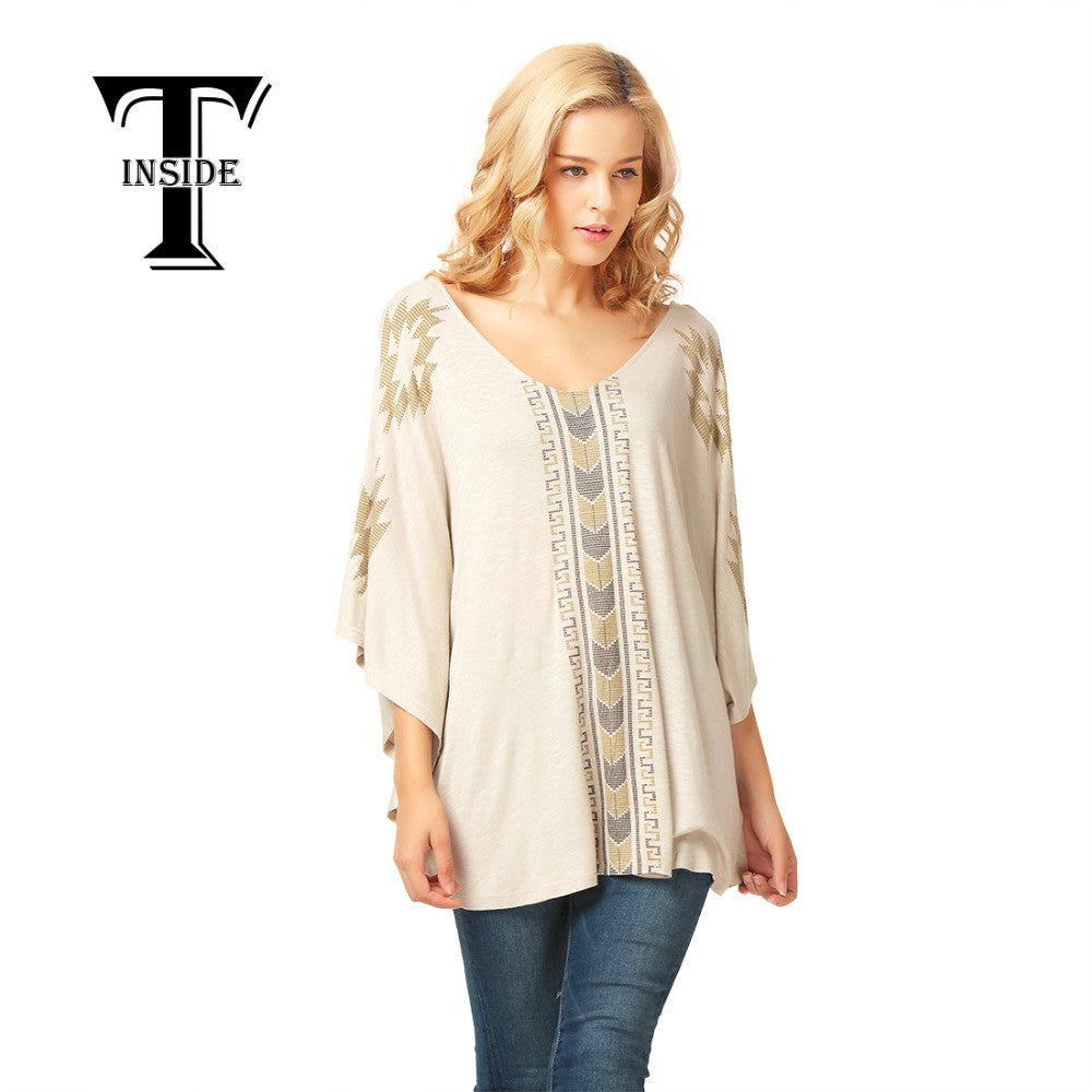T-INSIDE New Batwing-Sleeved Blouse Female New Style V-Neck Shirt Women Casual Soft Comfortable Short-Sleeved Tops - Jessikas Tops