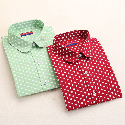 New Brand Polka Dot Shirt Women Long Sleeve Blouse Cotton Plus Size Ladies Tops Turn-Down Collar Women Blouses Femininas Camisa