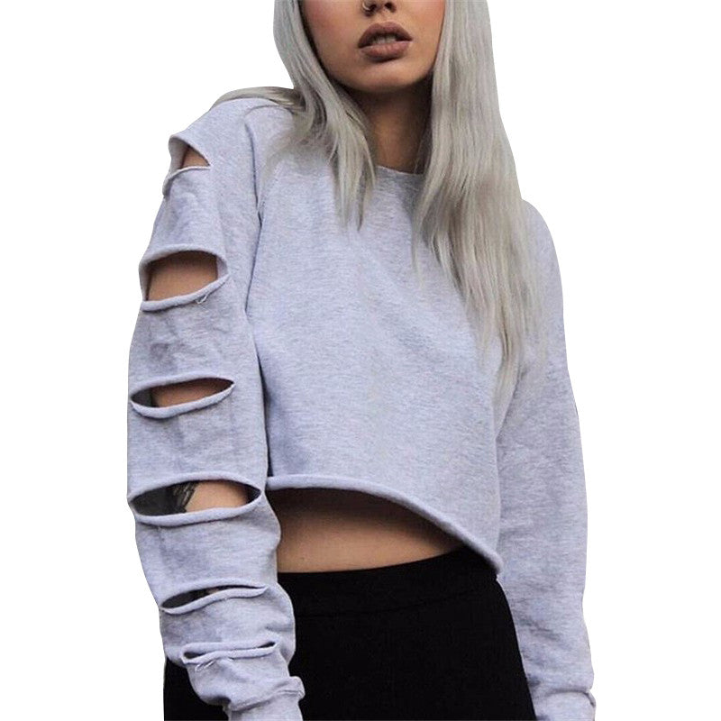 Cut Out Long Sleeve T-shirt Female Autumn Top Hip Hop T shirt Women 2016 Stylish Women Tops Rock White T Shirt Women Plus Size - Jessikas Tops