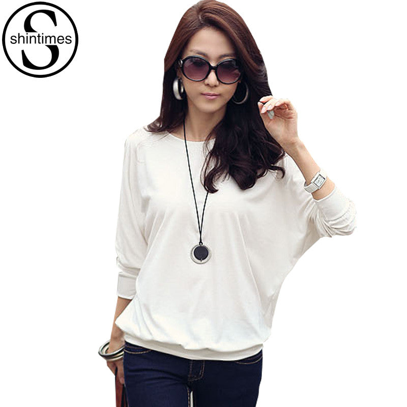 Camisas Femininas 2016 Batwing T Shirt Women Tshirt Fashion Womens Long Sleeve Tops White Loose T-shirt Plus Size Woman Clothes - Jessikas Tops