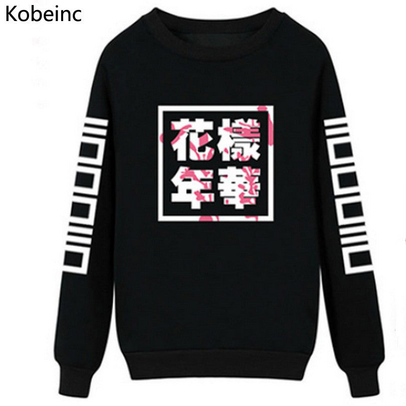 BTS Round Neck Long Sleeve Sweatshirts Harajuku Women Sweatshirt Bang Tan Boys Chinese Letter Printed Moletom Autumn Sudadera - Jessikas Tops